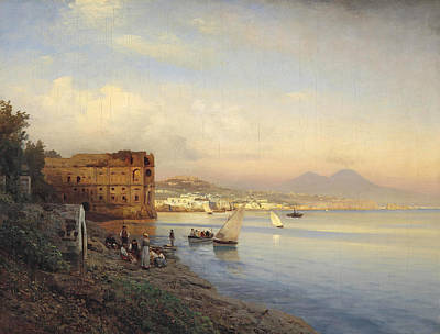 Painting - View Of The Bay Of Naples by Albert Flamm