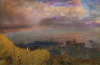 Painting - View Of The Bay Of Naples With Vesuvius Smoking In The Distance by Alfred Hunt