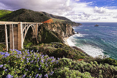 Craggy Photograph - View Of The Bixby Creek Bridge Big Sur California by George Oze