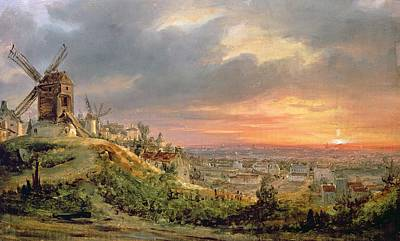 Sunset Painting - View Of The Butte Montmartre by Louis Jacques Mande Daguerre