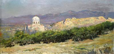 Painting - View Of The Church Of Saint Nikolas. Athens by Vikentios Bokatsiambis