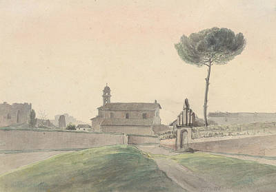 Drawing - View Of The Church Of San Pancrazio, Rome, From The South by Franz Ludwig Catel