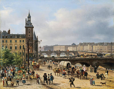 View Of The Clock Tower And The Flower Market In Paris Art Print by Giuseppe Canella
