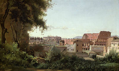 On Paper Painting - View Of The Colosseum From The Farnese Gardens by Jean Baptiste Camille Corot
