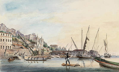 View Of The Dockyard, At Bahia Or San Salvador  Art Print by Thomas L Hornbrook
