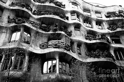 View Of The Exterior Of La Pedrera Building By Gaudi Art Print by Sami Sarkis