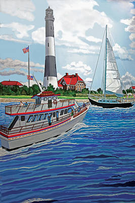 View Of The Fire Island Lighthouse From The Great South Bay Art Print