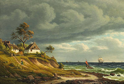 Painting - View Of The Fishing Village Sletten by Christian Kiaerskou