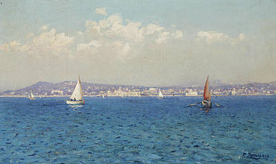 Painting - View Of The French Riviera by Fausto Zonaro