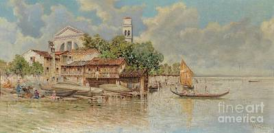 Shipyard Painting - View Of The Gondola Shipyard In San Trovaso by Celestial Images