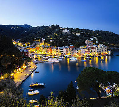 Portofino Harbour Photograph - View Of The Harbour At Dusk  Portofino by Yves Marcoux