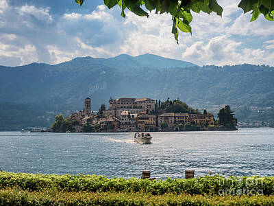 View Of The Island Of San Giulio In Lake Orta Italy Print by Frank Bach