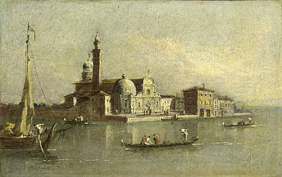 Isola Di Painting - View Of The Isola Di San Michele In Venice by Attributed to Giacomo Guardi