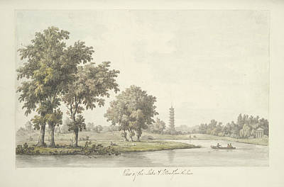 View Of The Lake And The Island From The Lawn At Kew Art Print by MotionAge Designs
