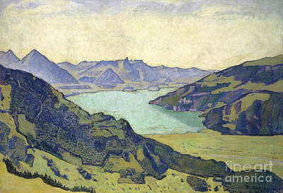 Painting - View Of The Lake Of Thun From Breitlauenen, 1906 by Ferdinand Hodler