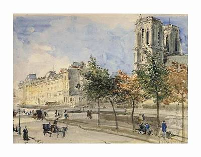 Notre Dame Cathedral Painting - View Of The Lle De by Henri Harpignies