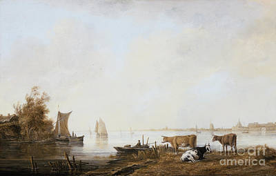 Maas Wall Art - Painting - View Of The Maas Near Dordrecht Aelbert Cuyp by Celestial Images