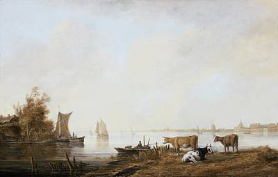 Maas Wall Art - Painting - View Of The Maas Near Dordrecht by MotionAge Designs