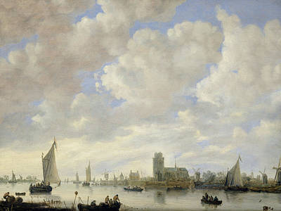 View Of The Merwede At Dordrecht Art Print by Jeronimus van Diest