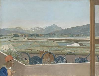 Self View Painting - View Of The Mont Blanc Massif From The Studio Of The Artist In Geneva, With Self Portrait, Jean-etie by Celestial Images
