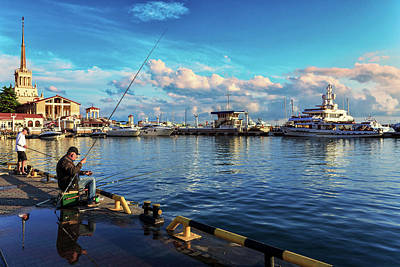 A Summer Evening Photograph - View Of The Naval Station Us And The Main Sea Channel Of The Port Of Sochi by George Westermak