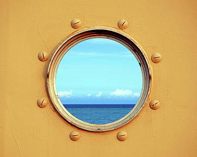 View Of The Ocean Through A Porthole Print by Yali Shi