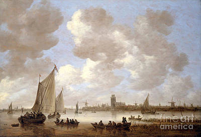 Maas Painting - View Of The Old Maas At Dordrecht by Celestial Images