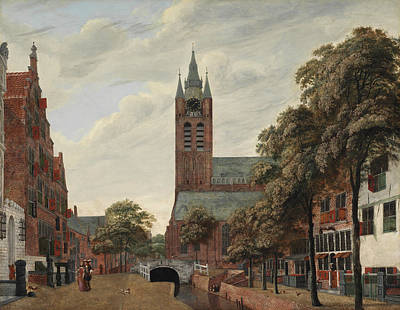 European Street Scene Painting - View Of The Oude Delft Canal by Jan Van der Heyden