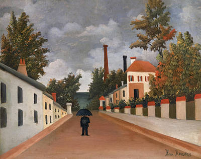Naive Art Painting - View Of The Outskirts Of Paris by Henri Rousseau