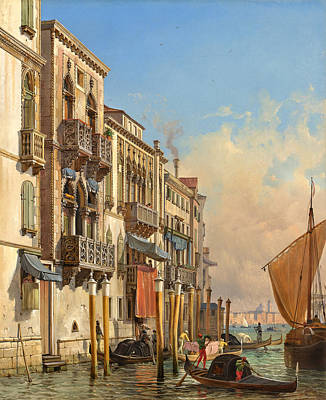 Outdoors Painting - View Of The Palazzetto Contarini Pheasant Conditions by Celestial Images