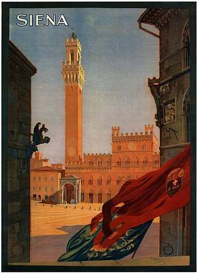 Siena Wall Art - Painting - View Of The Palazzo Publico In Siena, Tuscany - Italia - Vintage Illustrated Poster by Studio Grafiikka