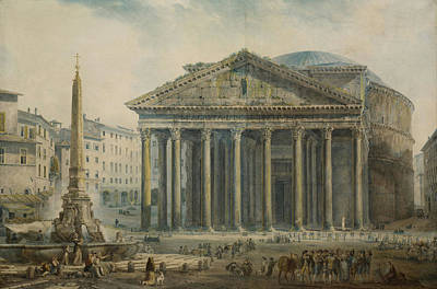 Water Painting - View Of The Pantheon Rome by Celestial Images