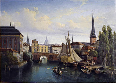 Gustaf Wilhelm Palm Painting - View Of The Riddarholmskanalen. Stockholm 1835 by Gustaf Wilhelm Palm