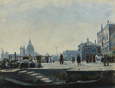 View Of The Riva Degli Schiavoni, Venice Art Print by Ercole Calvi