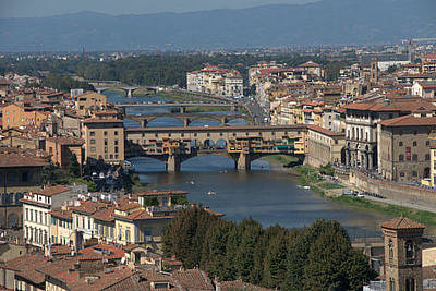 Photograph - View Of The River Arno And Ponte Vecchio by Caroline Stella