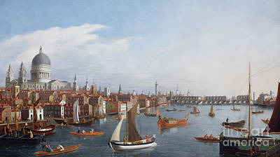 Barges Painting - View Of The River Thames With St Paul's And Old London Bridge   by William James