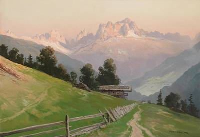 View Of The Rosengarten Dolomites In The Evening Light Art Print by MotionAge Designs