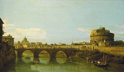 Castel Santangelo Wall Art - Painting - View Of The Tiber With The Castel Santangelo by Bernardo Bellotto