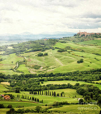 Tuscan Hills Painting - View Of The Town Of Pienza With The Typical Tuscan Hills by Antonio Gravante