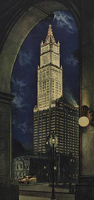 Landmarks Drawing - View Of The Woolworth Building by American School