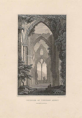Mountainous Mixed Media - View Of Tintern Abbey, Wales by Victorian Engraver