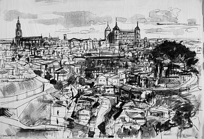 Drawing - View Of Toledo by Zolita Sverdlove