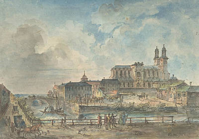 Drawing - View Of Uppsala Cathedral From The North by Elias Martin