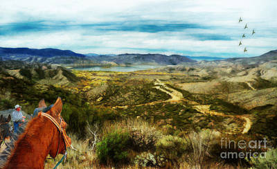 Digital Art - View Of Vail Lake On Horseback by Rhonda Strickland