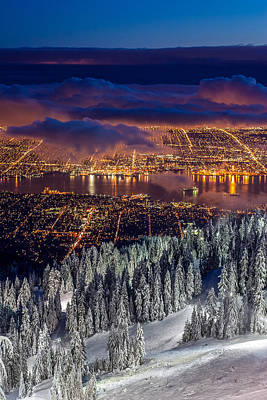 Photograph - View Of Vancouver From Grouse Mountain At Sunset by Pierre Leclerc Photography