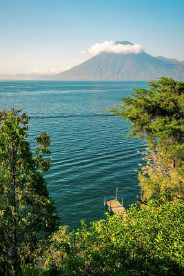 Photograph - View Of Volcano San Pedro With A Crown Of Clouds In Guatemala by Daniela Constantinescu