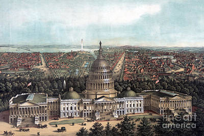 Washington Monument Painting - View Of Washington Dc by E Sachse