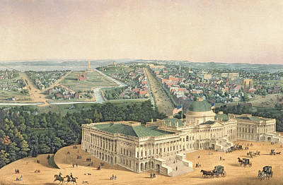 Horse And Carriage Painting - View Of Washington Dc by Edward Sachse