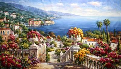 View Of Waterfront At Como Lake Art Print by Lucio Campana