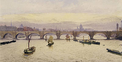Landscape Drawing - View Of Waterloo Bridge From Hungerford Bridge by John Crowther